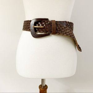 Michael Kors Wide Woven Braided Leather Belt